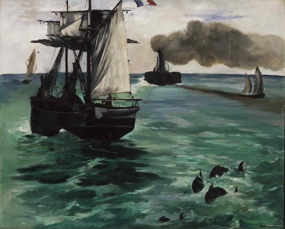 Edouardo Manet The Steamboat Seascape with Porpoises, Canvas, Édouard Manet, kanvas tablo, canvas print sales