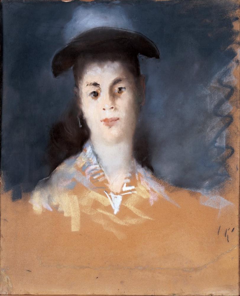 Edouardo Manet Woman Wearing A Hat With Silk Gauze, Canvas, Édouard Manet, kanvas tablo, canvas print sales