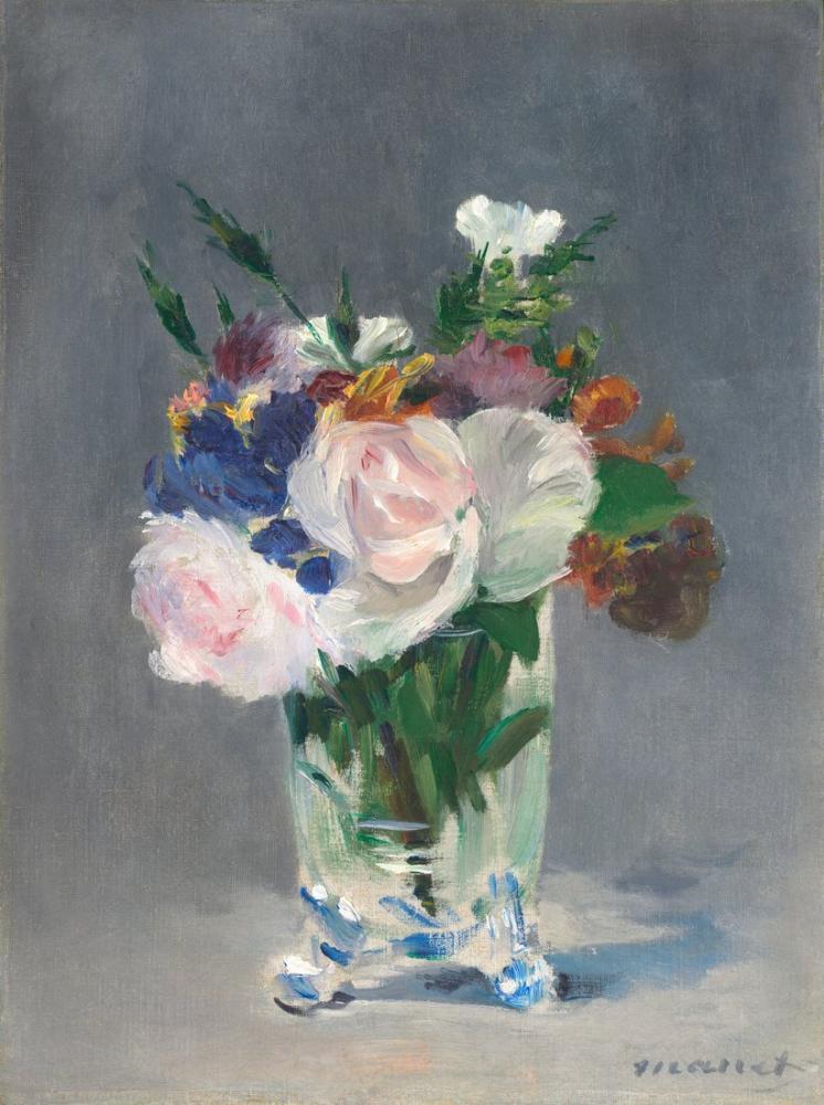 Edouardo Manet Flowers In A Crystal Vase, Canvas, Édouard Manet, kanvas tablo, canvas print sales