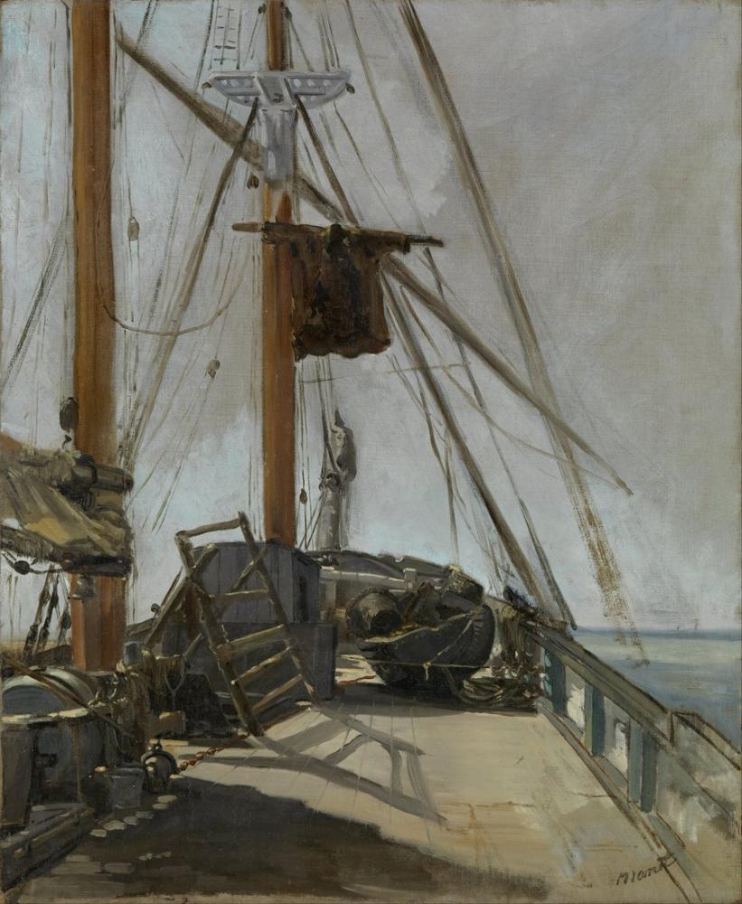 Edouardo Manet The Ships Deck, Canvas, Édouard Manet, kanvas tablo, canvas print sales