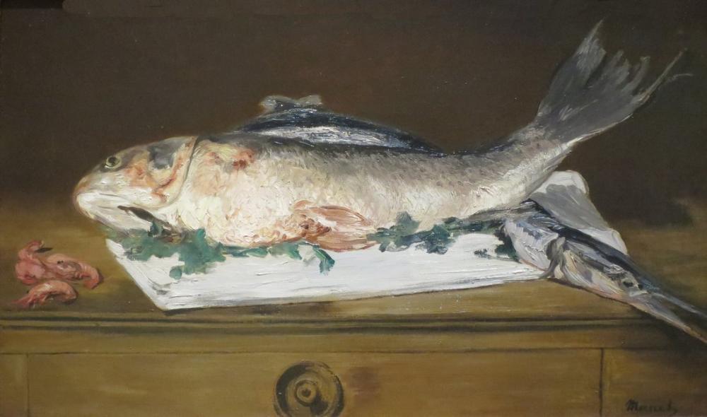 Edouard Manet Natürmort Somon Pike Ve Karides, Kanvas Tablo, Édouard Manet, kanvas tablo, canvas print sales