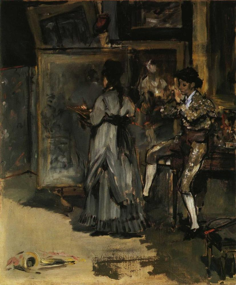 Edouard Manet Eva Gonzales Painting In The Studio, Canvas, Édouard Manet, kanvas tablo, canvas print sales