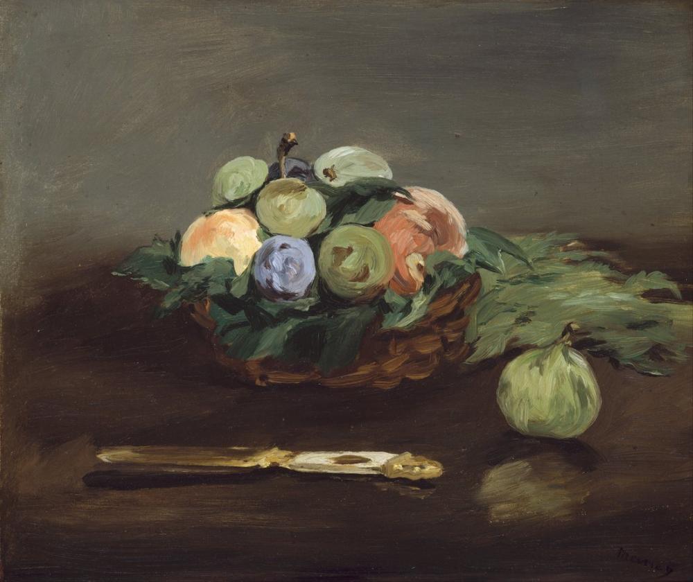 Edouardo Manet Basket Of Fruit, Canvas, Édouard Manet, kanvas tablo, canvas print sales