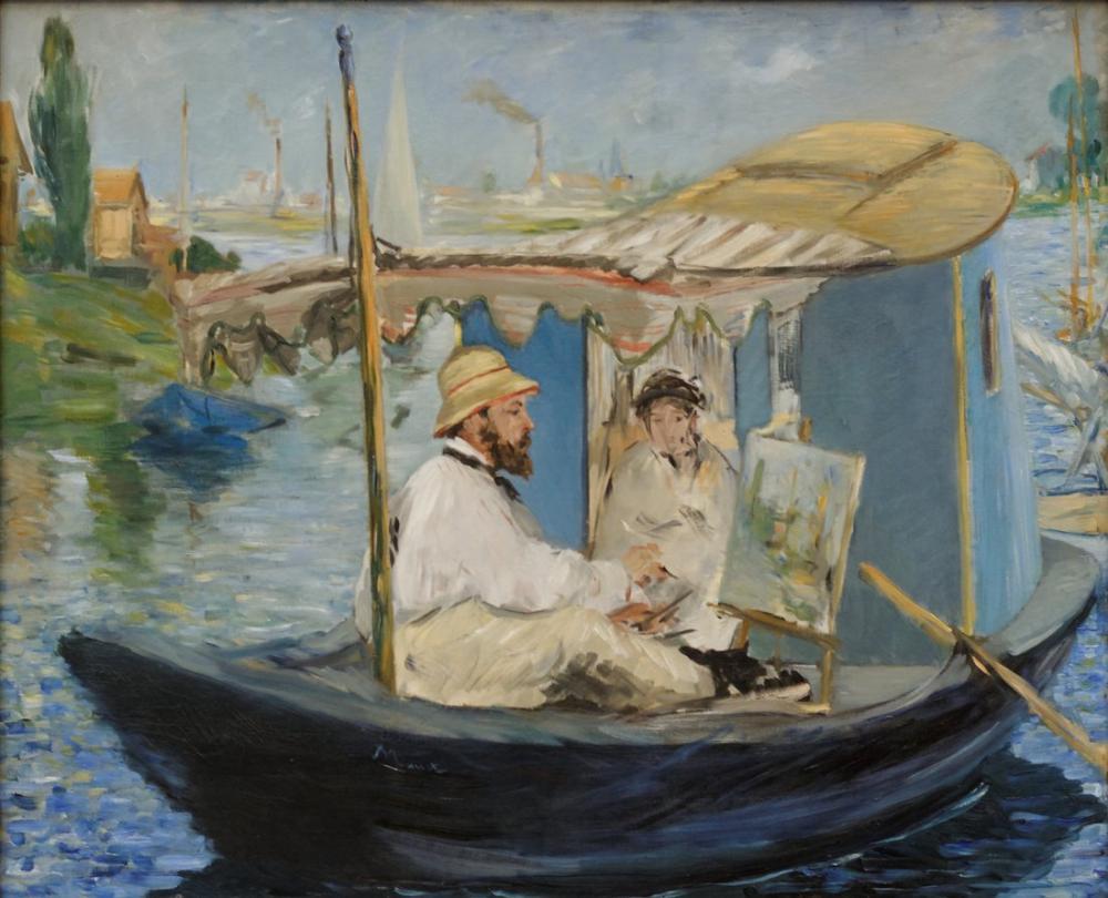Edouardo Manet Monet On His Studio Boat, Canvas, Édouard Manet, kanvas tablo, canvas print sales
