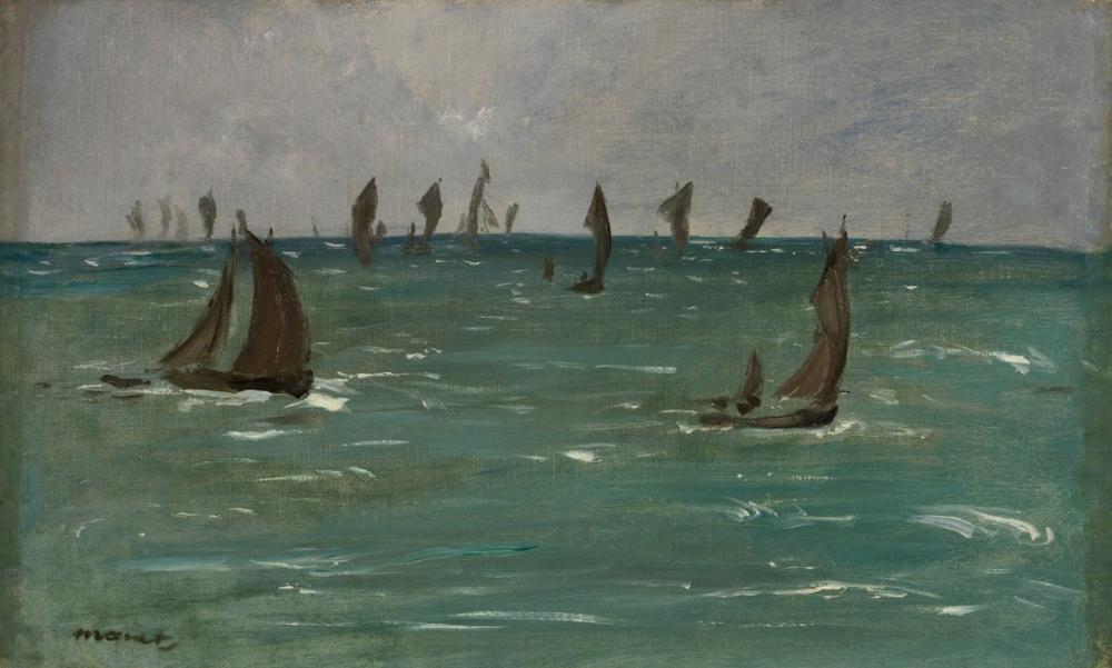 Edouardo Manet Boats At Berck Sur Mer, Canvas, Édouard Manet, kanvas tablo, canvas print sales