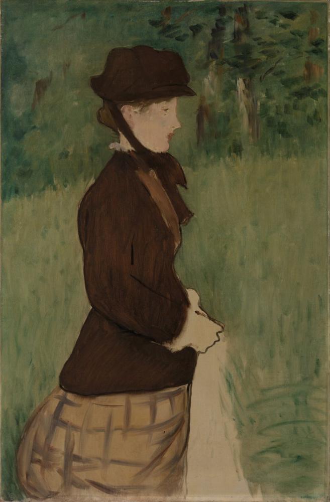 Edouard Manet Bir Bahçede Genç Kadın, Kanvas Tablo, Édouard Manet, kanvas tablo, canvas print sales