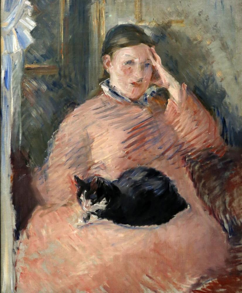 Edouardo Manet Woman With Cat, Canvas, Édouard Manet, kanvas tablo, canvas print sales