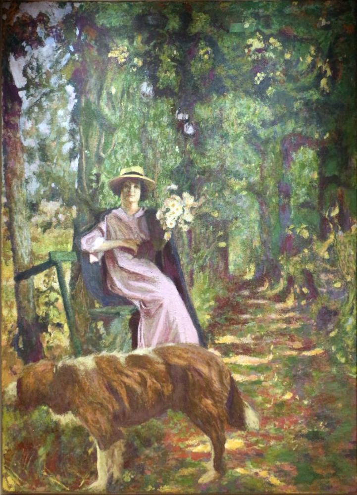 Edouard Vuillard, il Viale sottobosco con dama col cane, Canvas, Édouard Vuillard, kanvas tablo, canvas print sales