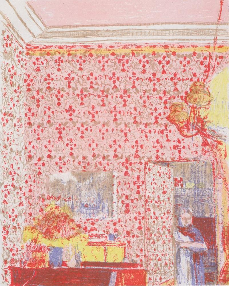 Edouard Vuillard, Pembe Duvar Kağıdı ile İç I, Figür, Édouard Vuillard, kanvas tablo, canvas print sales