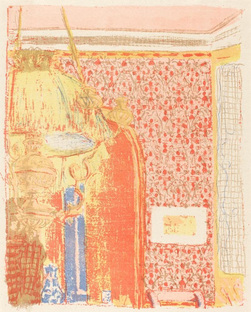 Edouard Vuillard, Interior with Pink Wallpaper III, Canvas, Édouard Vuillard, kanvas tablo, canvas print sales