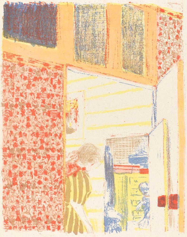Edouard Vuillard, Interior with Pink Wallpaper II, Figure, Édouard Vuillard, kanvas tablo, canvas print sales