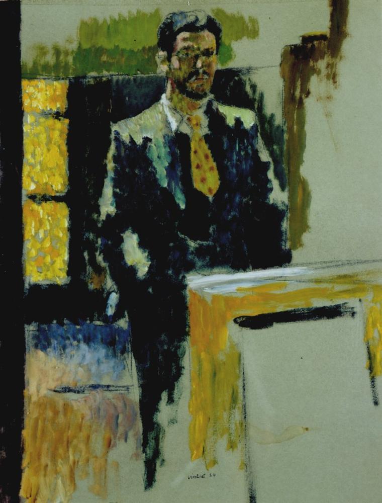 Edouard Vuillard, Jean Vimenet Autoportrait à la cravate jaune gouache sur papier Paris, Canvas, Édouard Vuillard, kanvas tablo, canvas print sales