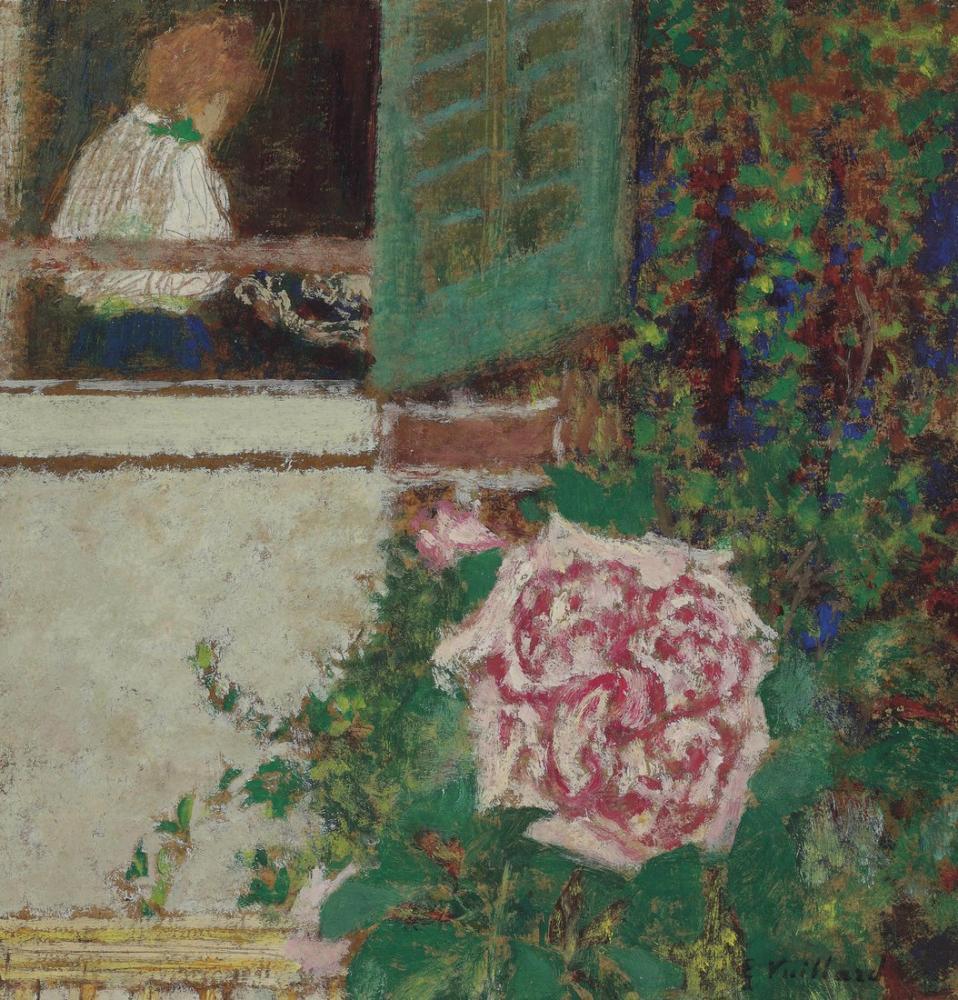 Edouard Vuillard, Penceredeki Genç Kadın ve Çiçeği, Kanvas Tablo, Édouard Vuillard, kanvas tablo, canvas print sales