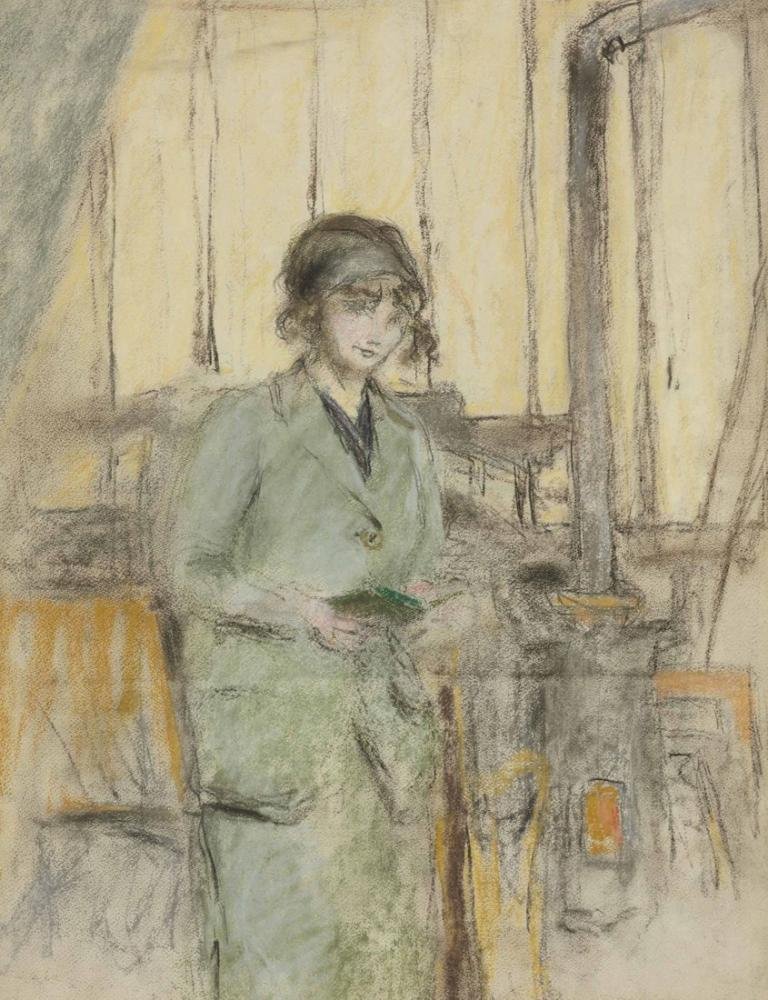 Edouard Vuillard, Jeune fille en vert debout dans latelier, Canvas, Édouard Vuillard, kanvas tablo, canvas print sales