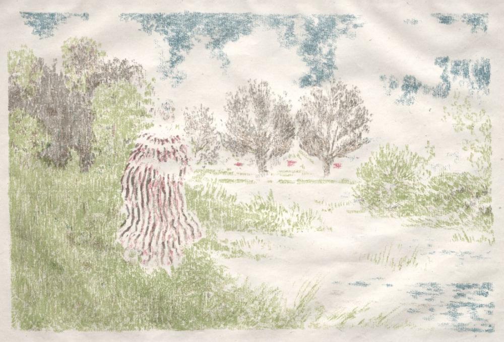 Edouard Vuillard, Ker Xavier Roussel Manzaralar Çizgili Elbiseli Kadın, Figür, Édouard Vuillard, kanvas tablo, canvas print sales