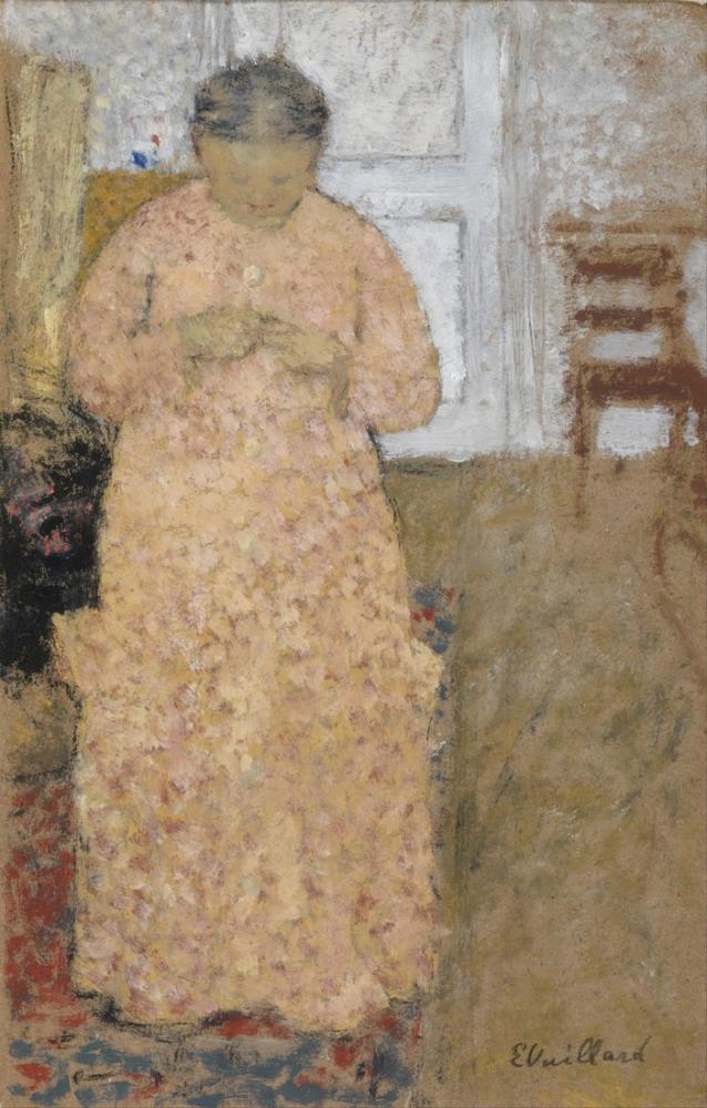 Edouard Vuillard, Pembe Elbiseli Kadın Örgü, Figür, Édouard Vuillard, kanvas tablo, canvas print sales