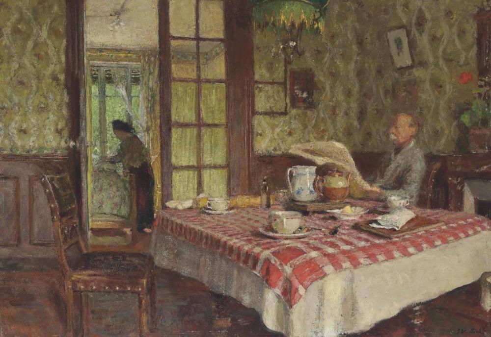 Edouard Vuillard, La Lecture Dans la Salle a Manger Vaucresson, Canvas, Édouard Vuillard, kanvas tablo, canvas print sales