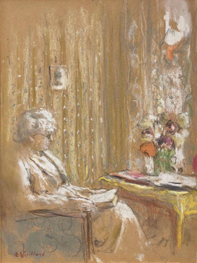 Edouard Vuillard, Bayan Hessel Baule Okuyor, Kanvas Tablo, Édouard Vuillard, kanvas tablo, canvas print sales