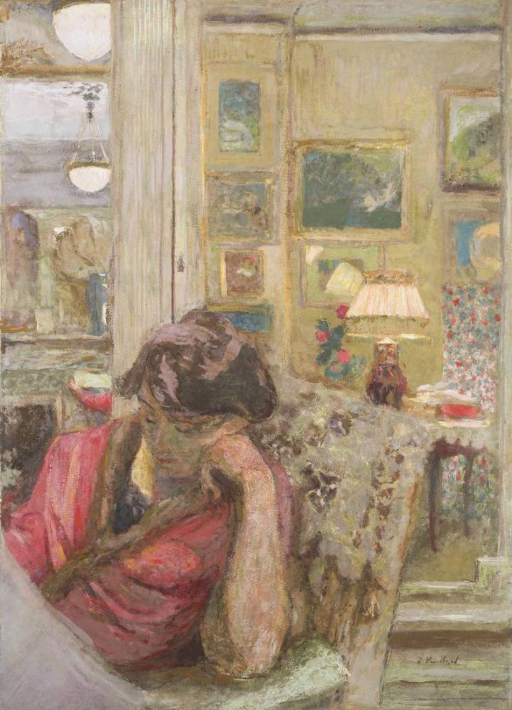 Edouard Vuillard, A madame Hessel lisant le journal le soir, Canvas, Édouard Vuillard, kanvas tablo, canvas print sales