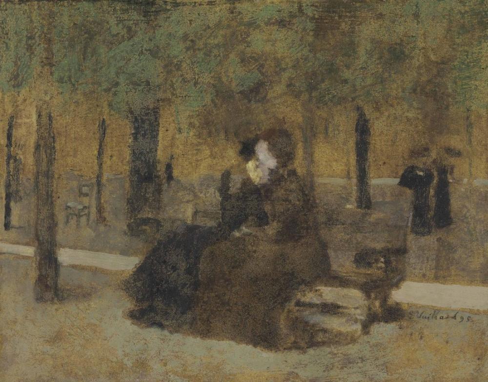 Edouard Vuillard, Les Amies ou Deux Femmes sur un Banc Le Soir Dans un, Figure, Édouard Vuillard, kanvas tablo, canvas print sales