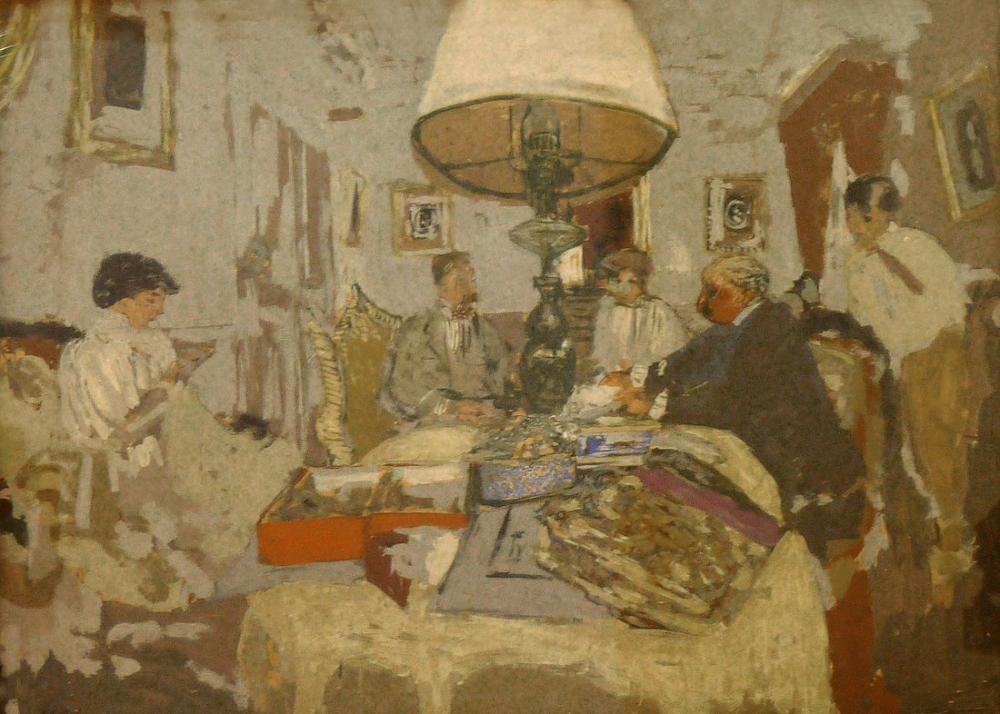 Edouard Vuillard, Masanın Etrafındaki Arkadaşlar, Figür, Édouard Vuillard, kanvas tablo, canvas print sales