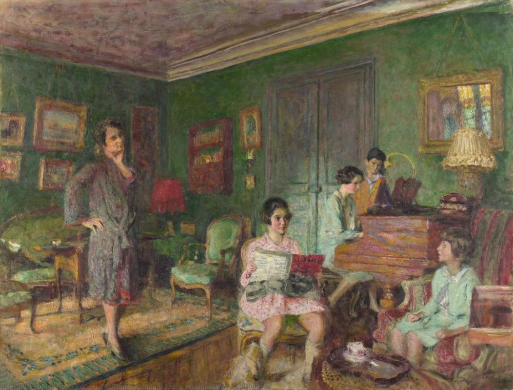 Edouard Vuillard, Madame Andre Wormser and her Children, Canvas, Édouard Vuillard, kanvas tablo, canvas print sales