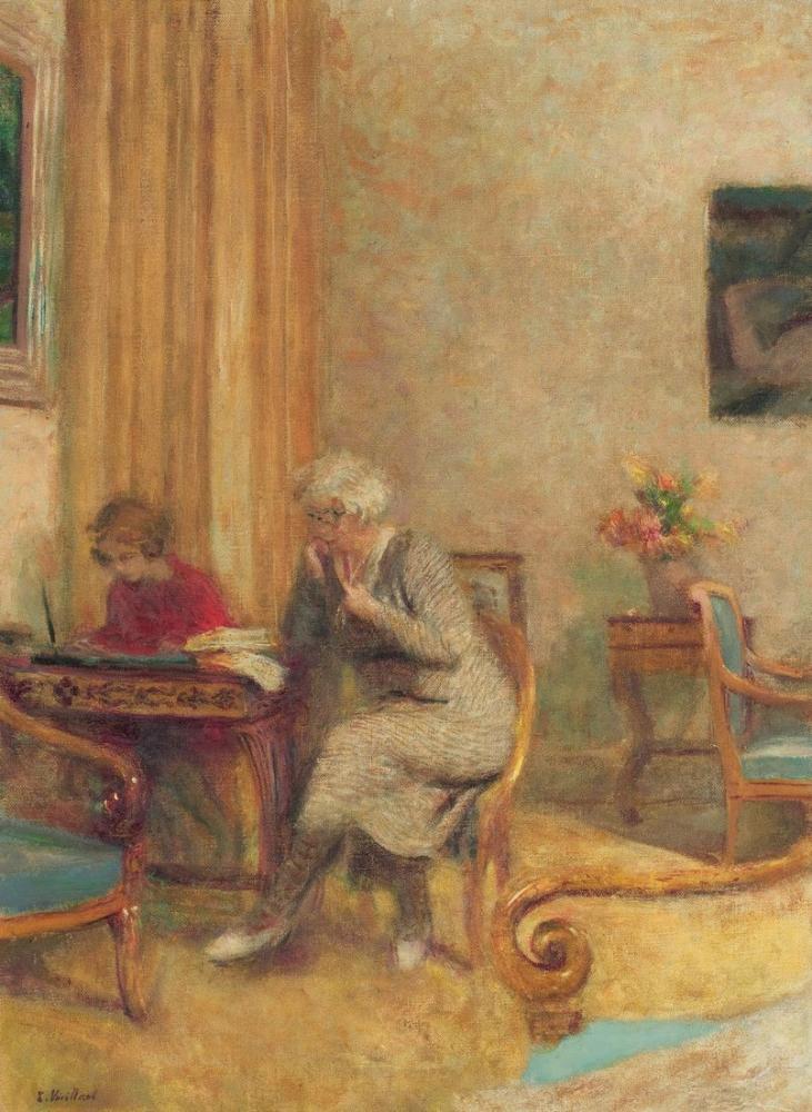 Edouard Vuillard, Madame Hessel et Lulu dans le petit salon des Clayes, Canvas, Édouard Vuillard, kanvas tablo, canvas print sales