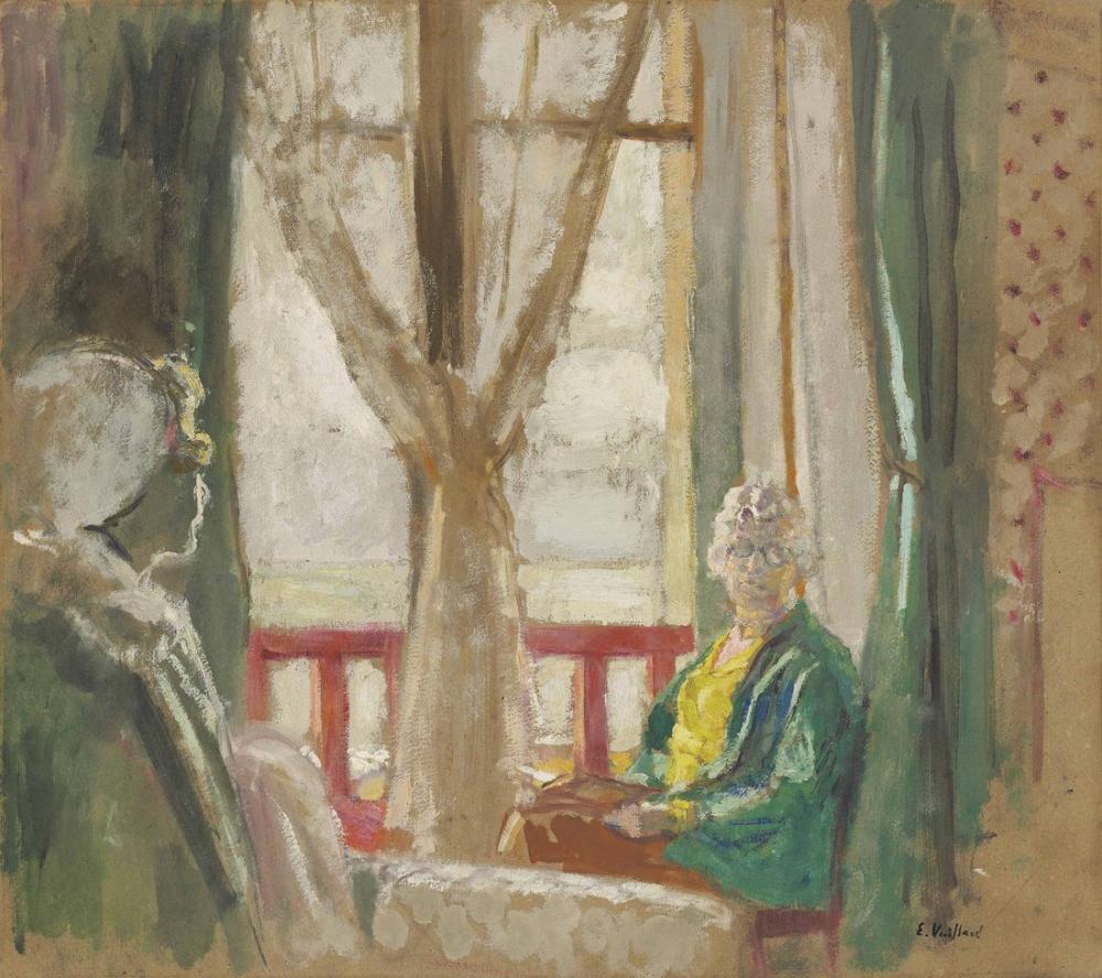 Edouard Vuillard, Madame Hessel ve Lulu, La Baule deki Otelin Penceresinin Önünde, Figür, Édouard Vuillard, kanvas tablo, canvas print sales