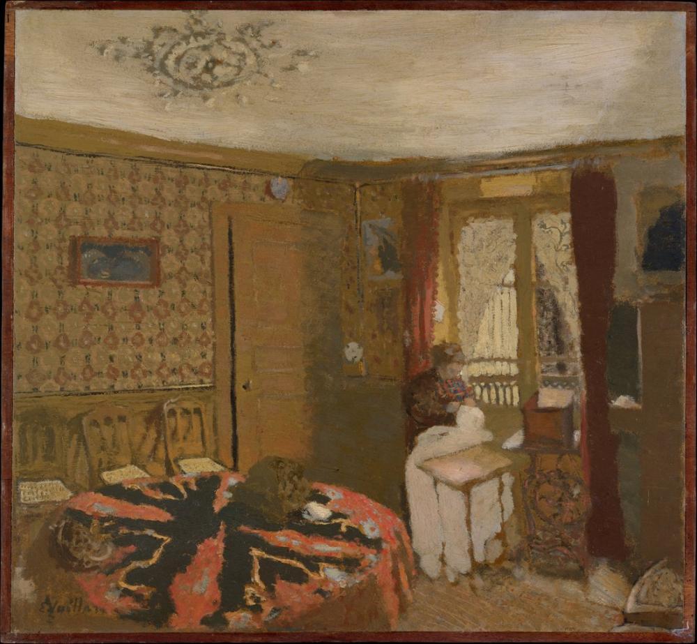 Edouard Vuillard, Bayan Tarafından Dikiş Pencere Perdesi Truffaut, Kanvas Tablo, Édouard Vuillard, kanvas tablo, canvas print sales