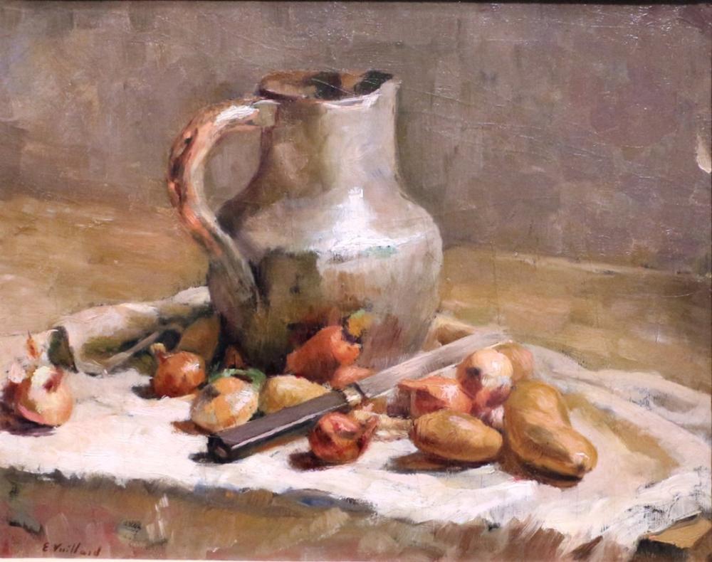 Edouard Vuillard, Sürahi ve Bıçak ile Natürmort, Kanvas Tablo, Édouard Vuillard, kanvas tablo, canvas print sales