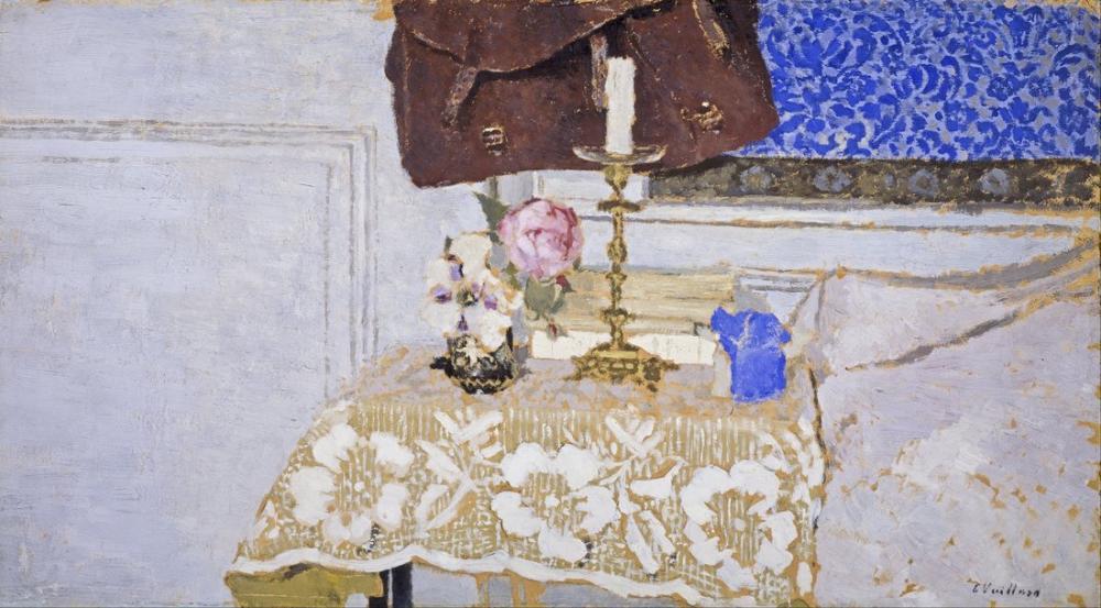 Edouard Vuillard, Şamdanla Natürmort, Kanvas Tablo, Édouard Vuillard, kanvas tablo, canvas print sales