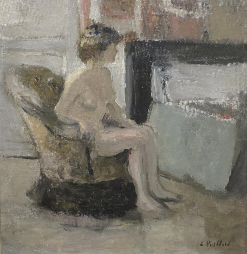 Edouard Vuillard, Bir Şöminenin Önüne Oturmuş Çıplak, Figür, Édouard Vuillard, kanvas tablo, canvas print sales