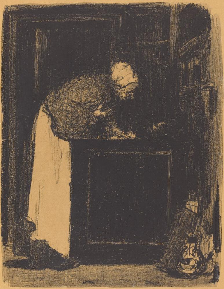 Edouard Vuillard, Bir Sobadaki Yaşlı Kadın, Figür, Édouard Vuillard, kanvas tablo, canvas print sales
