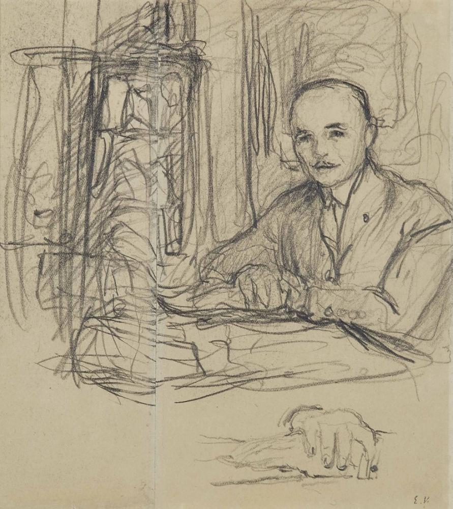 Edouard Vuillard, Portrait de Jean Laroche a son bureau reprise de ses, Figure, Édouard Vuillard, kanvas tablo, canvas print sales