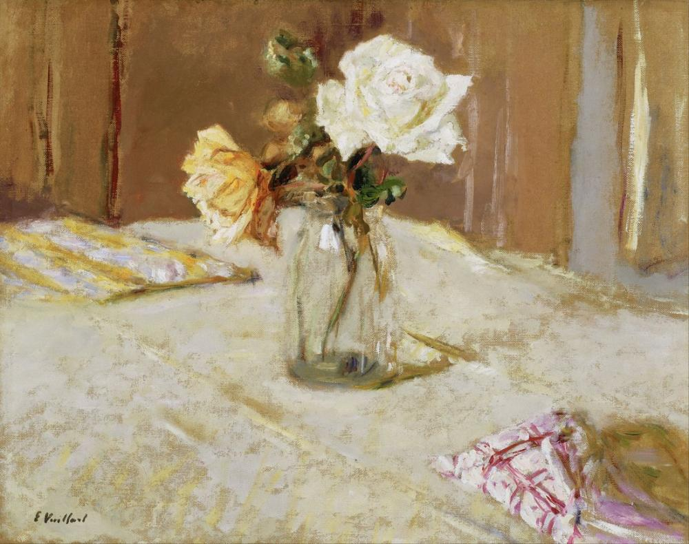 Edouard Vuillard, Roses in a Glass Vase, Canvas, Édouard Vuillard, kanvas tablo, canvas print sales