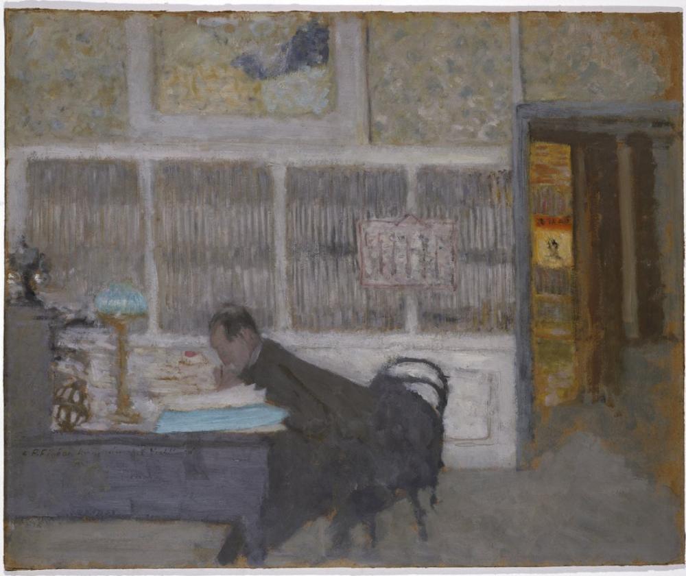 Edouard Vuillard, At the Revue Blanche Portrait of Félix Fénéon, Canvas, Édouard Vuillard, kanvas tablo, canvas print sales