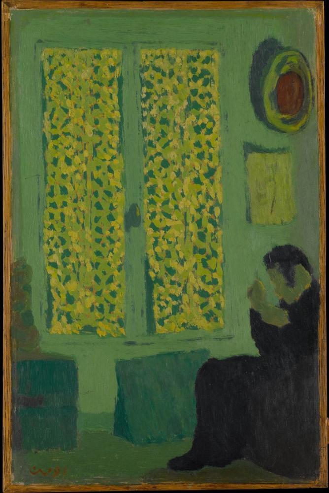 Edouard Vuillard, Perdeli Bir Pencerenin Oturduğu Yeşil İç Figür, Figür, Édouard Vuillard, kanvas tablo, canvas print sales