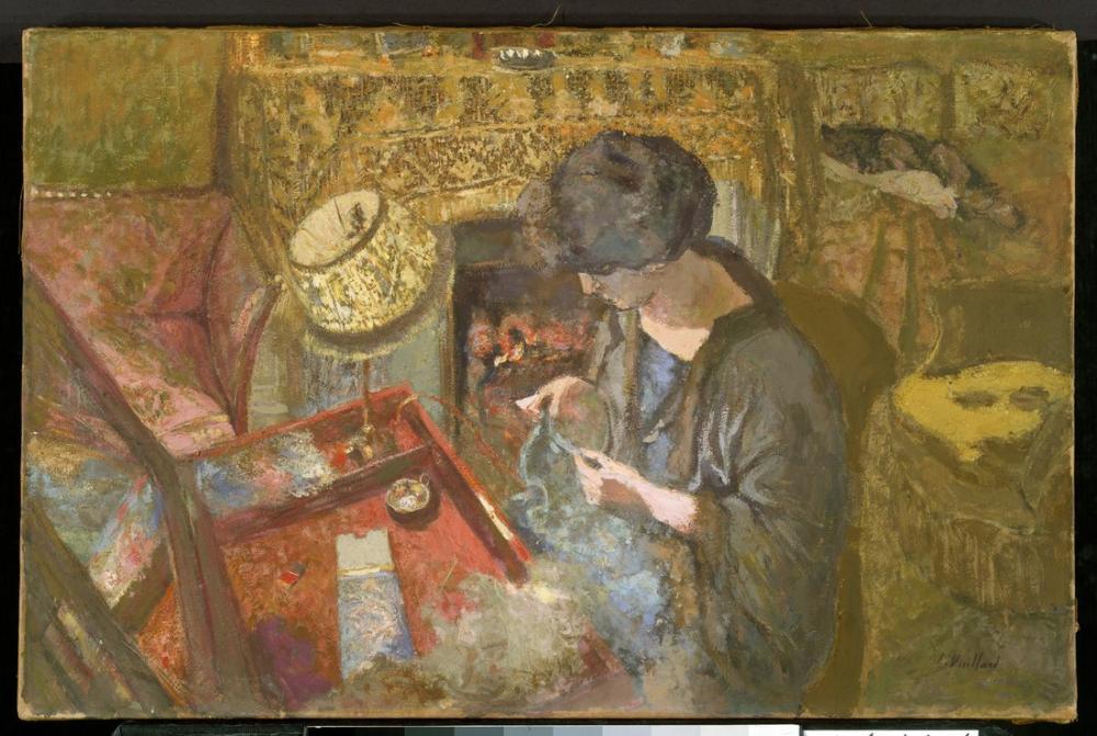 Edouard Vuillard, The Small Drawing Room Mme Hessel at Her Sewing Table, Canvas, Édouard Vuillard, kanvas tablo, canvas print sales