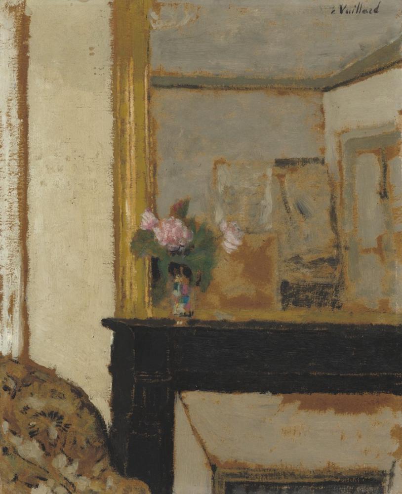 Edouard Vuillard, Vase of Flowers on a Mantelpiece, Canvas, Édouard Vuillard, kanvas tablo, canvas print sales