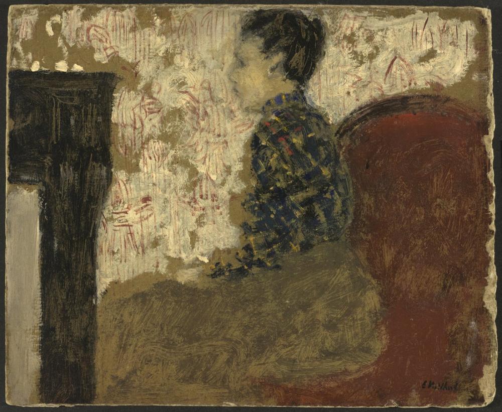 Edouard Vuillard, Şöminenin Yanında Oturan Kadın, Figür, Édouard Vuillard, kanvas tablo, canvas print sales