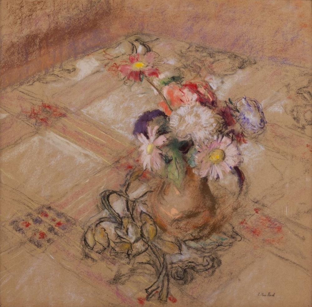 Edouard Vuillard, Vaucresson daki Masada Zinnias, Kanvas Tablo, Édouard Vuillard, kanvas tablo, canvas print sales