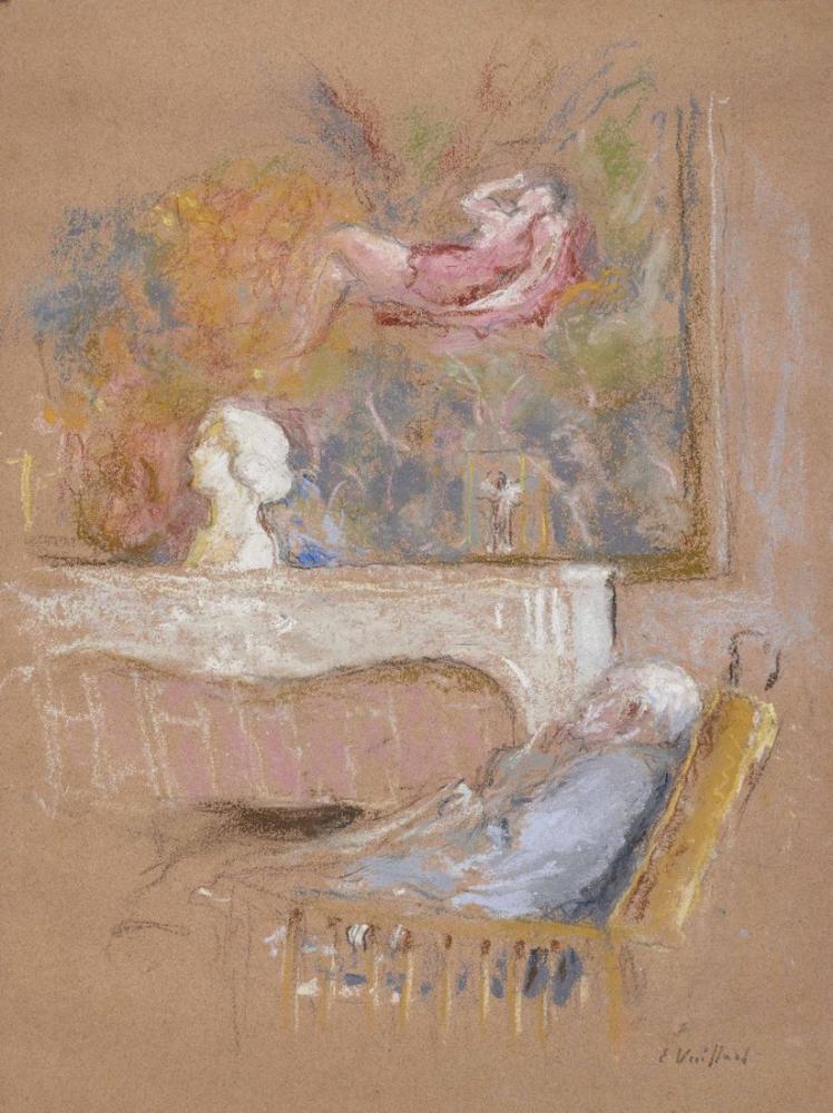 """Edouard Vuillard, Jos Hessel, Kerr-Xavier Roussel Tarafından """"Diane in Dinlenme Yeri"""" Önünde, Figür, Édouard Vuillard, kanvas tablo, canvas print sales"""