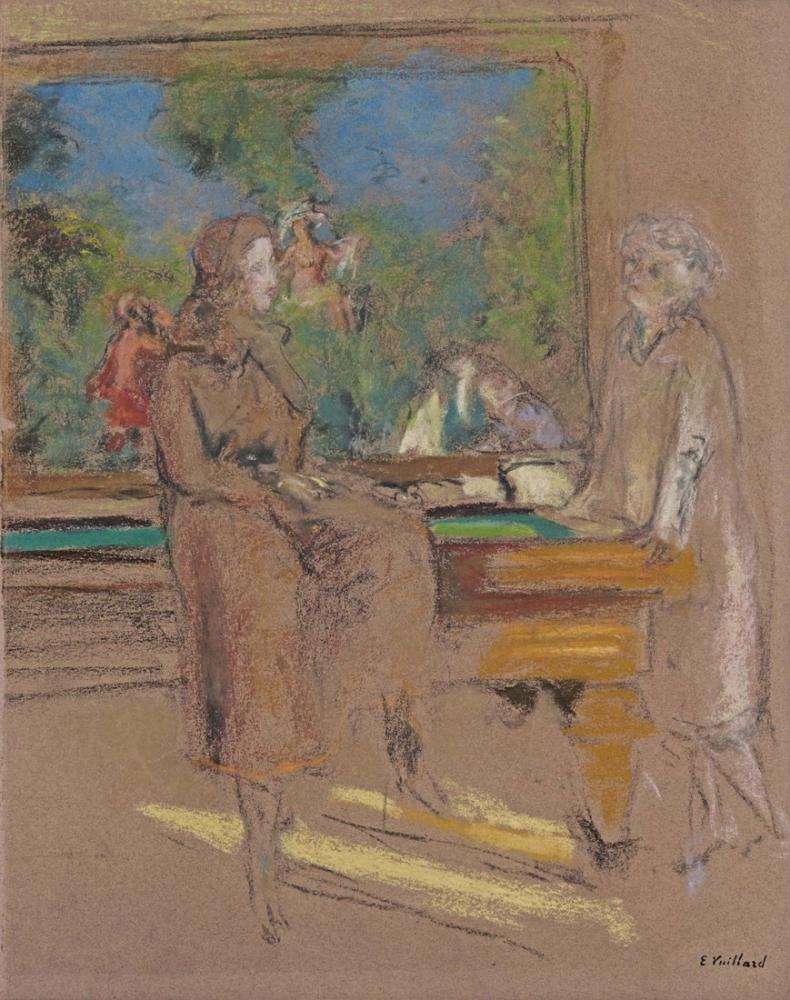 Edouard Vuillard, Havuzun Önünde, Figür, Édouard Vuillard, kanvas tablo, canvas print sales