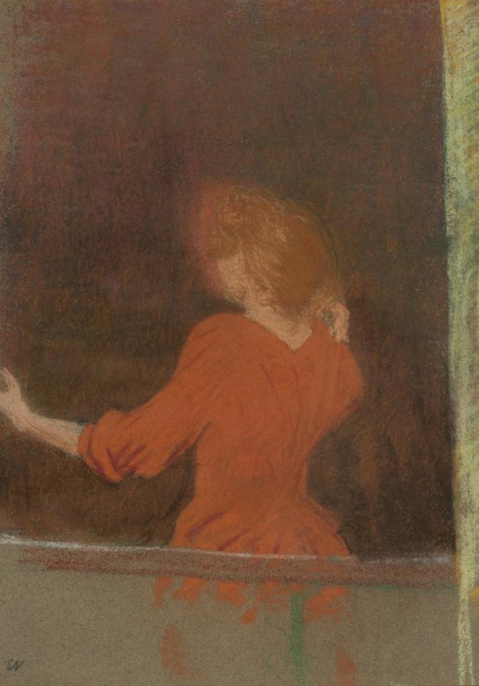 Edouard Vuillard, Kırmızı Kadın Pencerede, Kanvas Tablo, Édouard Vuillard, kanvas tablo, canvas print sales