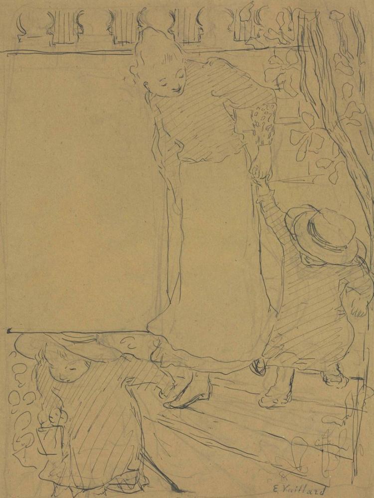 Edouard Vuillard, Femme et enfants descendant l'escalier, Figure, Édouard Vuillard, kanvas tablo, canvas print sales