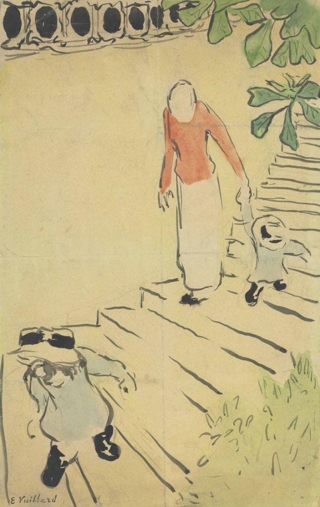 Edouard Vuillard, Kadın ve Çocuklar Meydanda Merdivenlerden İniyor, Figür, Édouard Vuillard, kanvas tablo, canvas print sales