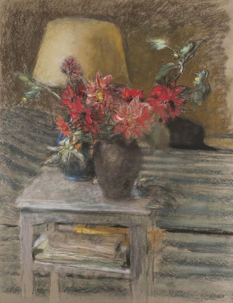 Edouard Vuillard, Bir Masada Çiçek, Kanvas Tablo, Édouard Vuillard, kanvas tablo, canvas print sales