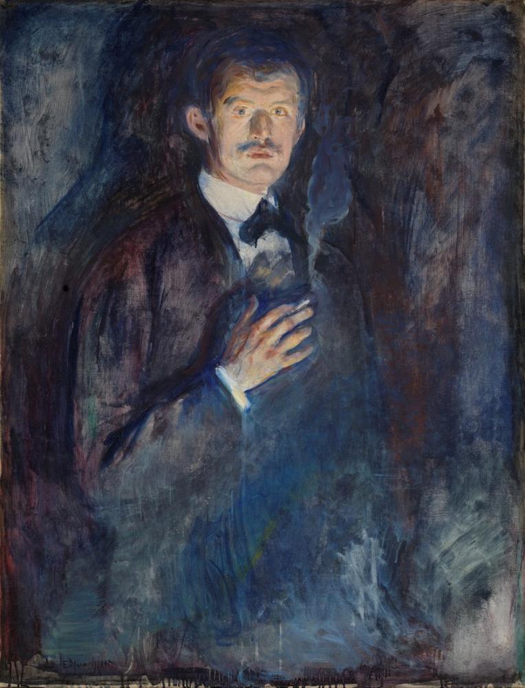 Edvard Munch Kendinden Yanan Sigara, Kanvas Tablo, Edvard Munch, kanvas tablo, canvas print sales