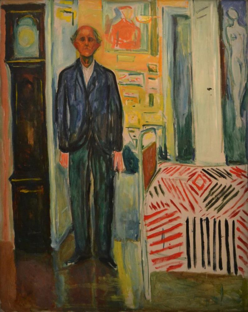 Edvard Munch Otoportre Saat Ve Yatak Arasında, Kanvas Tablo, Edvard Munch, kanvas tablo, canvas print sales