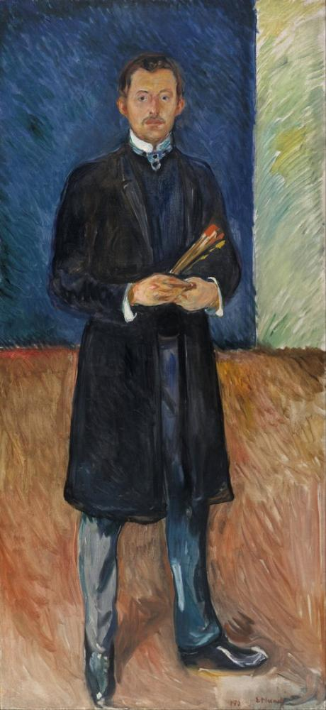Edvard Munch Self Portrait With Brushes, Canvas, Edvard Munch, kanvas tablo, canvas print sales